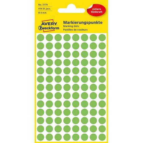 Kolorowe kółka do zaznaczania Avery Zweckform, 416 etyk./op., Ø8 mm, zielone odblaskowe