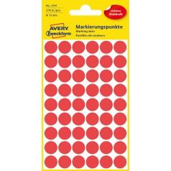 Kolorowe kółka do zaznaczania Avery Zweckform, 270 etyk./op., Ø12 mm, czerwone
