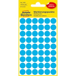 Kolorowe kółka do zaznaczania Avery Zweckform, 270 etyk./op., Ø12 mm, niebieskie
