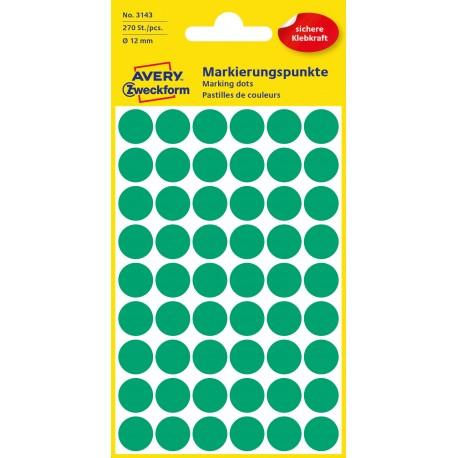 Kolorowe kółka do zaznaczania Avery Zweckform, 270 etyk./op., Ø12 mm, zielone