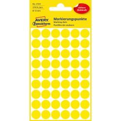 Kolorowe kółka do zaznaczania Avery Zweckform, 270 etyk./op., Ø12 mm, żółte