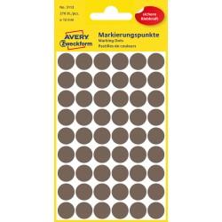 Kolorowe kółka do zaznaczania Avery Zweckform, 270 etyk./op., 12 mm, brązowe