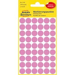 Kolorowe kółka do zaznaczania Avery Zweckform, 270 etyk./op., Ø12 mm, jasnoróżowe