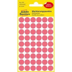 Kolorowe kółka do zaznaczania Avery Zweckform, 270 etyk./op., Ø12 mm, czerwone odblaskowe