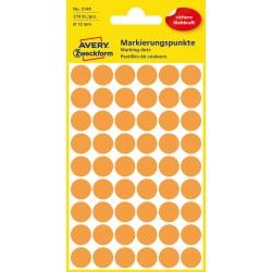 Kolorowe kółka do zaznaczania Avery Zweckform, 270 etyk./op., Ø12 mm, pomarańczowe odblaskowe