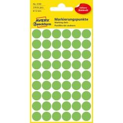 Kolorowe kółka do zaznaczania Avery Zweckform, 270 etyk./op., Ø12 mm, zielone odblaskowe