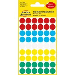Kolorowe kółka do zaznaczania Avery Zweckform, 270 etyk./op., Ø12 mm, mix kolorów