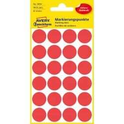 Kolorowe kółka do zaznaczania Avery Zweckform, 96 etyk./op., Ø18 mm, czerwone