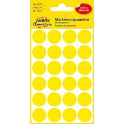 Kolorowe kółka do zaznaczania Avery Zweckform, 96 etyk./op., Ø18 mm, żółte