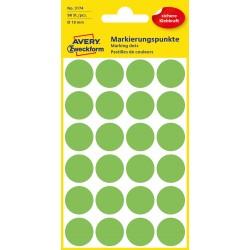 Kolorowe kółka do zaznaczania Avery Zweckform, 96 etyk./op., Ø18 mm, zielone odblaskowe