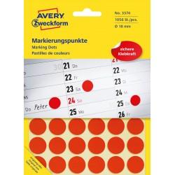 Kolorowe kółka do zaznaczania Avery Zweckform, 1056 etyk./op., Ø18 mm, czerwone