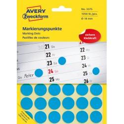 Kolorowe kółka do zaznaczania Avery Zweckform, 1056 etyk./op., Ø18 mm, niebieskie