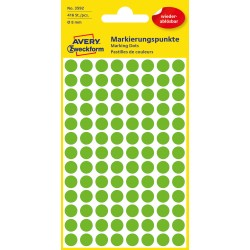 Usuwalne, kolorowe kółka do zaznaczania Avery Zweckform, 416 etyk./op., Ø8 mm, zielone
