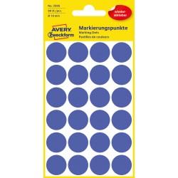 Usuwalne, kolorowe kółka do zaznaczania Avery Zweckform, 96 etyk./op., Ø18 mm, niebieskie