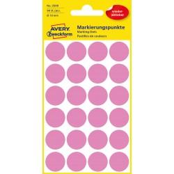 Usuwalne, kolorowe kółka do zaznaczania Avery Zweckform, 96 etyk./op., Ø18 mm, różowe