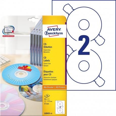 Etykiety na płyty CD/DVD Avery Zweckform, L6043-25 Classic Size, 50 naklejek