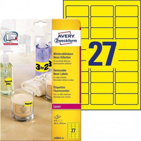 Etykiety neonowe Avery L6004-25 żółte rozmiar 63,5 x 29,6 mm 675 etykiet