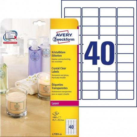 Etykiety Avery L7781-25, przeźroczysta folia, 1000szt. etykiet: 45,7 x 25,4mm