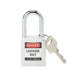 Kłódka lockout BRADY 813638, biała, ze stalowym kabłąkiem 38mm