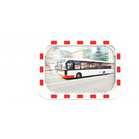Lustro drogowe EUVEX 40 x 60 cm, akrylowe, z biało- czerwoną ramą , z uchwytem do słupka