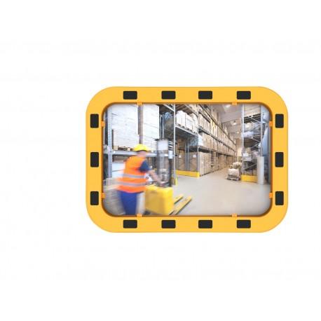 Lustro przemysłowe EUVEX 40 x 60 cm, akrylowe, z żółto-czarną ramą , z uchwytem do słupka