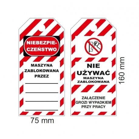 Przywieszka ostrzegawcza LOTO standardowa PL, biało-czerwono-czarna, 75x160mm