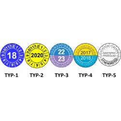 Etykiety NASTĘPNE WZORCOWANIE, TYP-5, okrągłe Ø 25mm, na lata 21-26 - 20szt.
