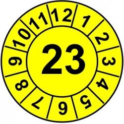 """Naklejki przeglądów TYP-1, Ø10mm, rok """"23"""", kolor zielony, arkusz 143szt."""