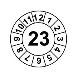 """Naklejki przeglądów TYP-1, Ø 20mm, rok """"23"""", różne kolory, arkusz 35szt."""
