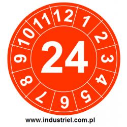 """Naklejki przeglądów TYP-1, Ø 20mm, rok """"24"""", wybór kolorów, arkusz 35 szt."""