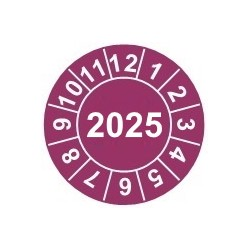 """Naklejki przeglądów TYP-2, Ø 20mm, rok """"2025"""", arkusz 35szt."""