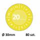 Tabliczki inspekcyjne winylowe 20__ do opisu ręcznego, Ø30, żółte, 80 sztuk, Avery Zweckform