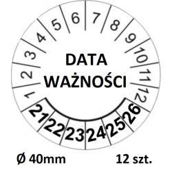 """Naklejki do przeglądów, TYP-5, """"DATA WAŻNOŚCI"""", okrągłe, na lata 21-26, Ø 40mm, 12 szt."""