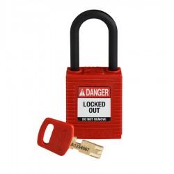 Kłódka Brady SafeKey Lockout, czerwona, z nylonowym kabłąkiem 38mm, różne klucze
