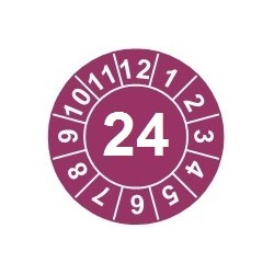 """Naklejki przeglądów TYP-1, Ø15mm, rok """"23"""", kolor do wyboru, arkusz 63szt."""
