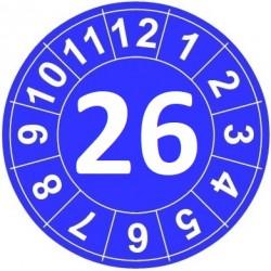 """Naklejki przeglądów TYP-1, Ø15mm, rok """"26"""", kolor do wyboru, arkusz 63szt."""