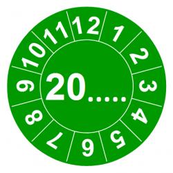Etykiety inspekcyjne TYP-6, okrągłe Ø 20mm, zielone, w środku: 20..... i 12 miesięcy dookoła, 35szt.