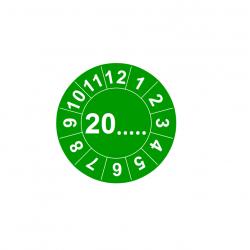 Etykiety inspekcyjne TYP-6, okrągłe Ø 10mm, zielone, w środku: 20..... i 12 miesięcy dookoła, 143szt.
