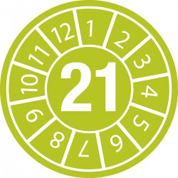 """Naklejki plombowe z datą przeglądu, Ø10mm, rok """"21"""", zielone, 104 szt."""