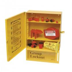 Stacja Lockout/Tagout, metalowa szafka na sprzęt LOTO + skrzynka blokowania grupowego Lock-Box