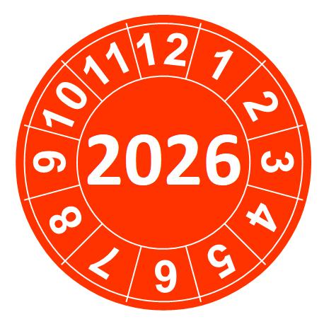 """Naklejki przeglądów TYP-2, Ø 15mm, rok """"2026"""", wybór koloru, arkusz 63szt."""