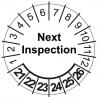 Etykiety inspekcyjne, naklejki przeglądowe, TYP-5, NEXT INSPECTION, okrągłe Ø 30mm, na lata 21-26 - 35szt.
