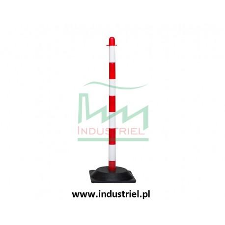 Słupek plastikowy biało-czerwony o wysokości 90cm, z kwadratową podstawą gumową