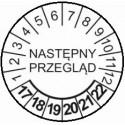 """TYP-5: w środku napis, np: """"Następny przegląd"""", na dole lata: 18-23, u góry 12 miesięcy"""